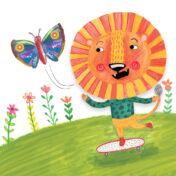 lion, skateboard, kids character, mixed media, kids book, surface pattern