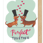 greetings cards, wedding, sausage dog, perfect together, gay, straight, LGBT