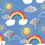 weather, pattern, rainbow, cloud, sunshine, thunder, kids pattern, kids decor