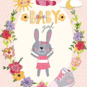 baby girl, rabbit, pink, new baby, flowers, shoes, socks