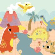 dinosaurs, baby book, t-rex, diplodocus, stegosaurus, terradactil, baby board book, volcano, toddler book, kidslit, preschool