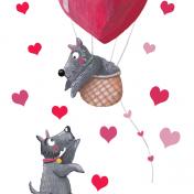 valentines, scottie dog, hot air balloon. love, pink, love you