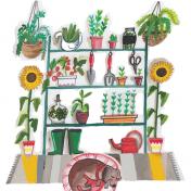 garden, dog, sunflower, card, new home
