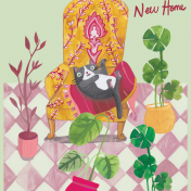 new home, cats, plants, licensing, greetings card