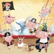 pigs, pirate, kidslit, dog pirate, kidslit, childrens illustration, pirate, kidslit, pigbook