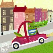 crocodile, car, city, kidslit, town, toddler book, busybook, kids vehicles, toddler book, kidslit, baby book, learn