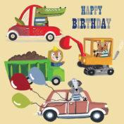 cars, digger, truck, animal vehicles, lion, happy birthday
