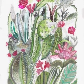 cactus, eden project, original art, painting, watercolour