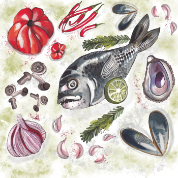 fish, recipie, illustration, publishing, editorial, food, watercolour, vegetables, seafood